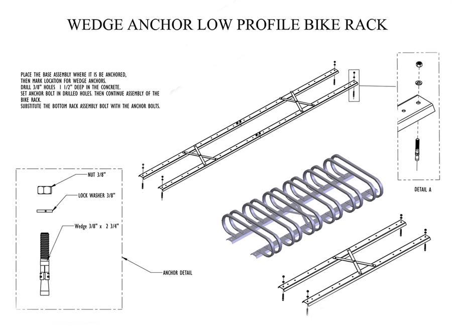 12 Space Low Profile Bike Rack Galvanized Steel