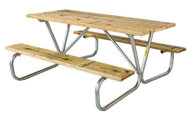 Commercial Wooden Picnic Table, Portable 8 Ft. Southern Yellow Pine ...
