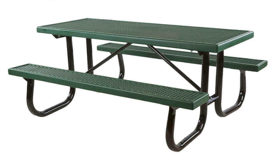 6 ft quick ship plastisol coated metal picnic table green - Metal Picnic Table Frame