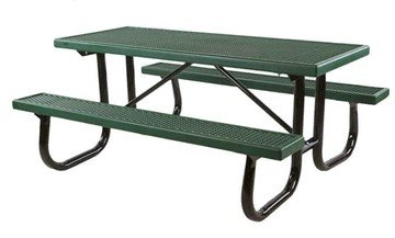 6 Ft. Quick Ship Plastisol Coated Metal Picnic Table Green