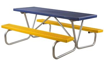 "6 Ft. Plastisol Coated Metal Picnic Table With Galvanized 1-5/8"" Bolted Frame"