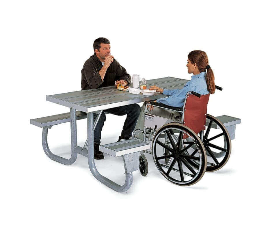 6 ft ada aluminum picnic table wheelchair accessible for Handicapped wheelchair