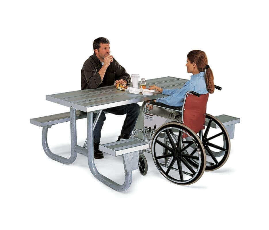 8 Ft Ada Aluminum Picnic Table Wheelchair Accessible