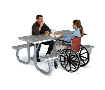 6 Ft. ADA Aluminum Picnic Table, Wheelchair Accessible