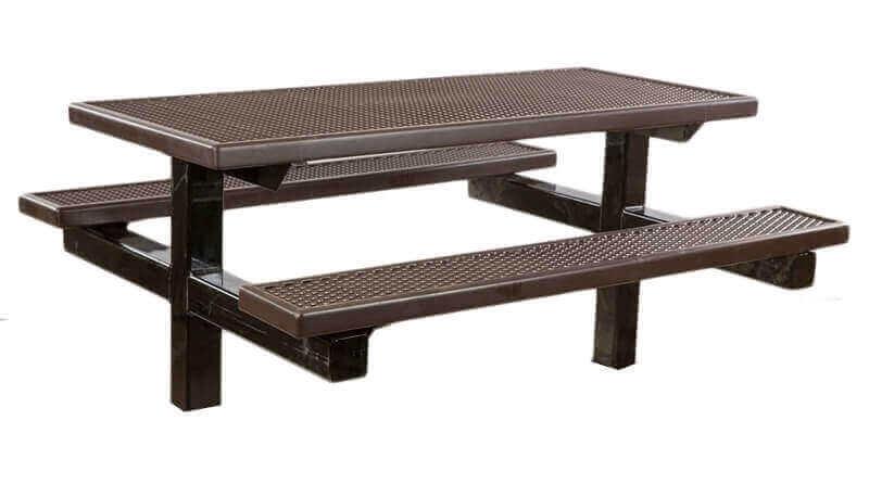 6 ft plastisol double pedestal picnic table inground - Metal Picnic Table Frame