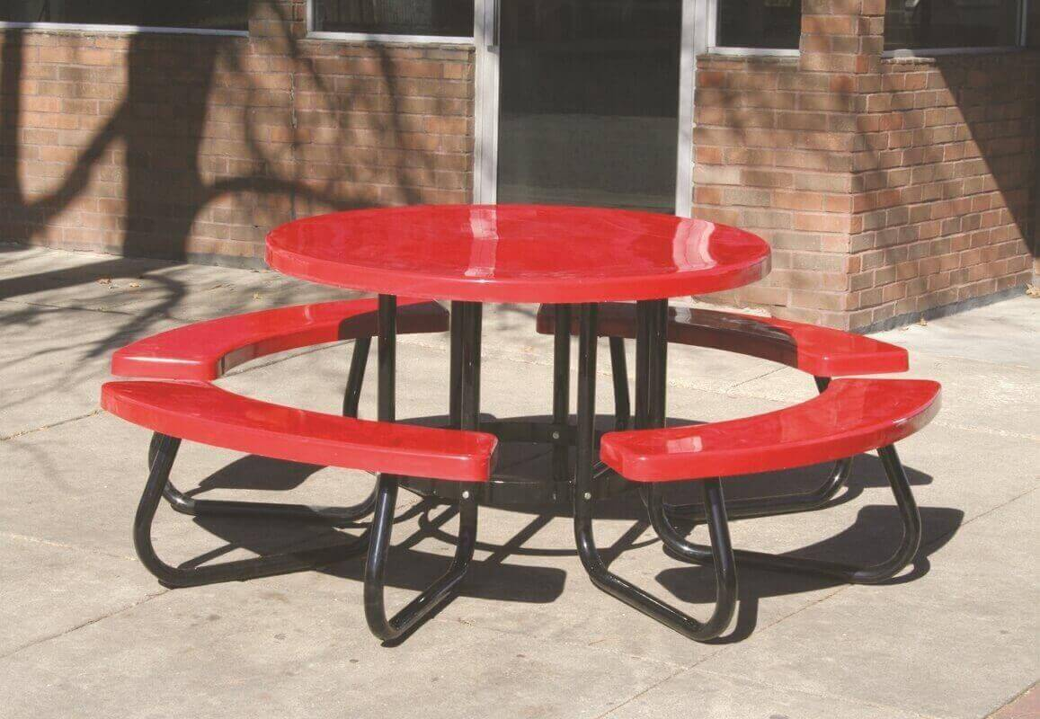 48 round fiberglass picnic table with 1 5 8 o d tube steel