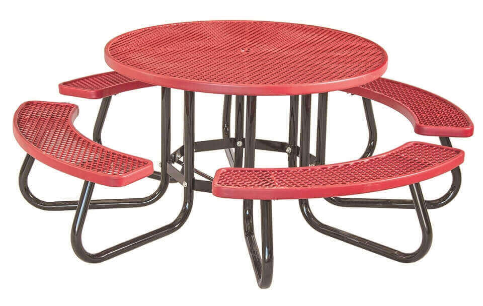 48 round plastisol expanded metal picnic table with 1 5 8 o d