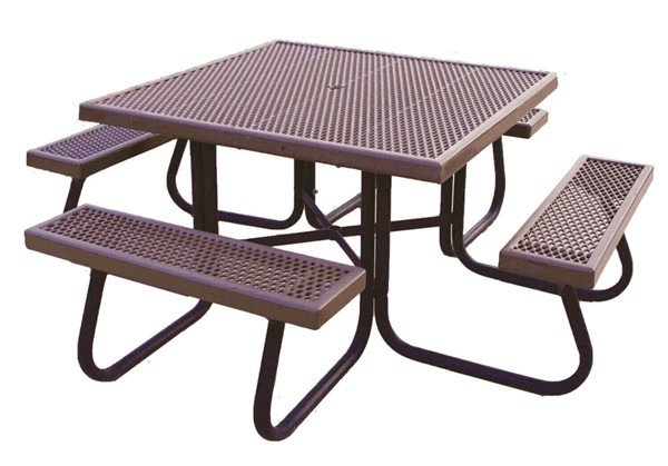 Square Plastisol Expanded Metal Picnic Table With OD - Square metal picnic table