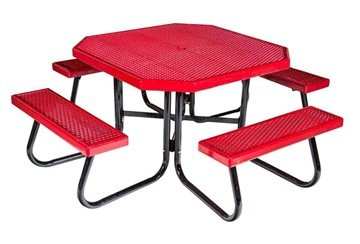 Octagonal Plastisol Picnic Table With Galvanized Steel Frame