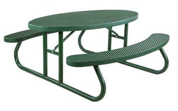 Oval Plastisol Picnic Table With Galvanized Steel Frame