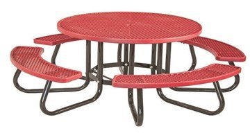 Round Children's Plastisol Coated Metal Picnic Table With Galvanized Frame