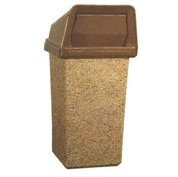 22 Gallon Concrete Square Trash Receptacle With Dome Lid
