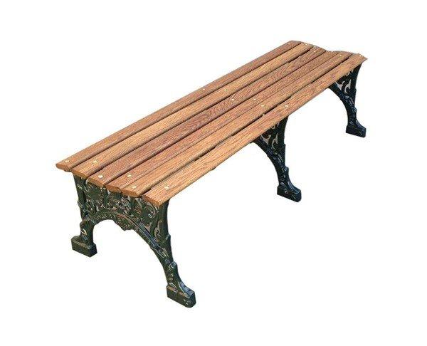 Renaissance Park Bench Without Back, White Oak Slats And Cast Aluminum Frame