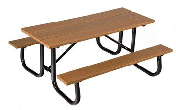 6 Ft. Heavy Duty Recycled Plastic Picnic Table With Welded Galvanized Frame