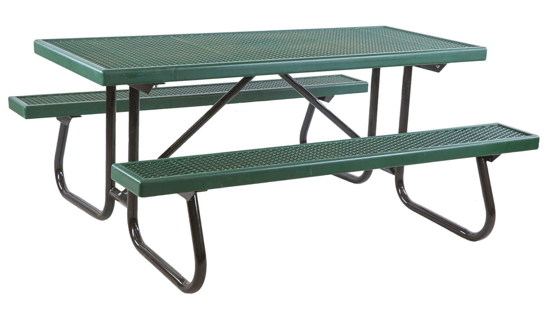 6 Ft Plastisol Coated Metal Picnic Table With Galvanized