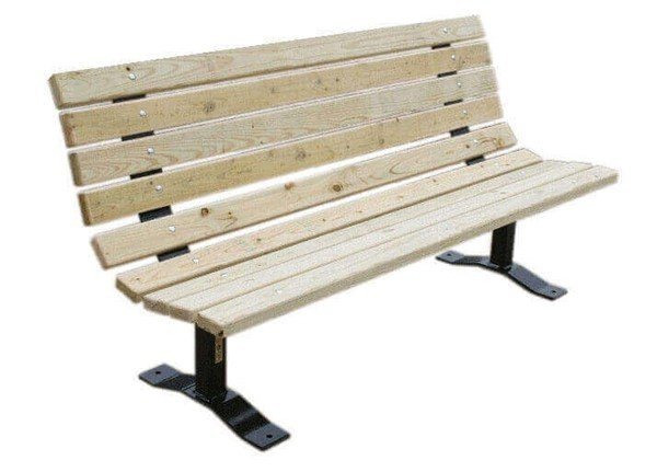 Wooden Contoured Park Bench With Steel Frame, Surface Mount