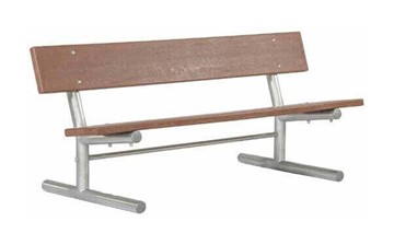 Portable Recycled Plastic Plank Bench with Galvanized Steel Frame - 6 or 8 ft.