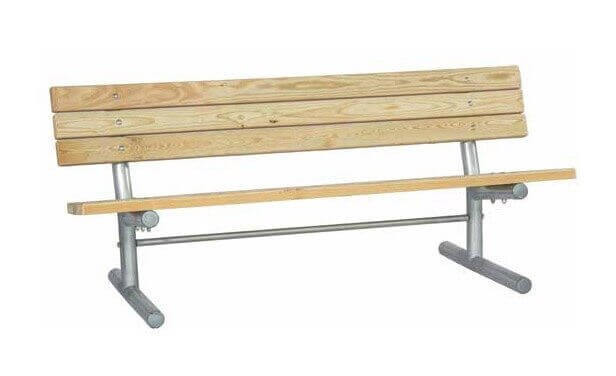 Portable Wooden Slat Bench with Galvanized Metal Frame - Furniture ...