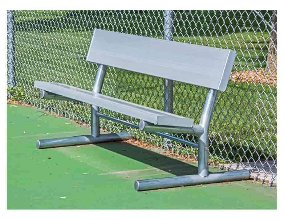 Portable Aluminum Plank Park Bench with Galvanized Steel Frame - 6 ...