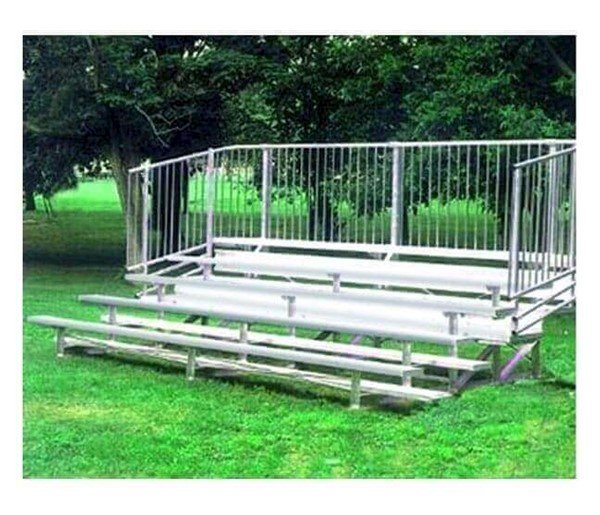 4 Row Portable Aluminum Bleacher With Guardrails And Double Footboards