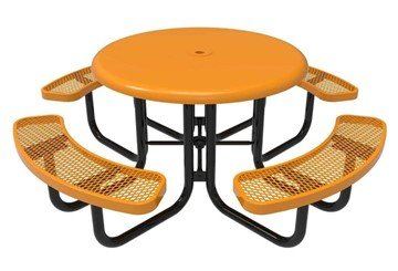 "Picture of RHINO 46"" Round Solid Top Thermoplastic Polyolefin Coated Picnic Table - Quick Ship"