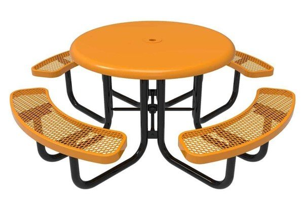 """Picture of RHINO 46"""" Round Solid Top Thermoplastic Polyolefin Coated Picnic Table - Quick Ship"""