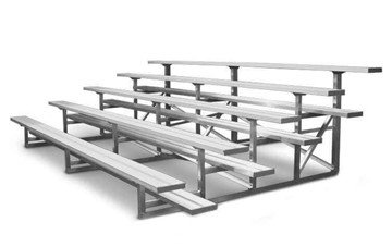 5 Row Portable Aluminum Bleacher Without Guardrails And Double Footboards