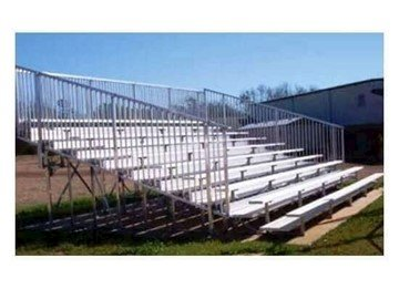 8 Row Portable Aluminum Bleacher with Guardrails and Double Footboards