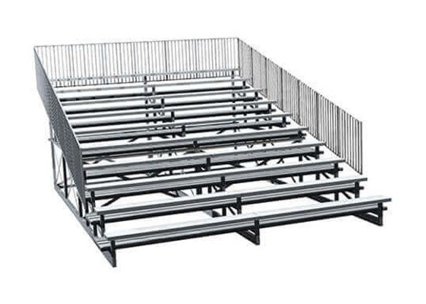 10 Row Portable Aluminum Bleacher with Guardrails and Double Footboards