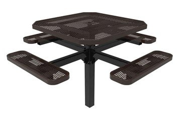 "Picture of RHINO 46"" Octagon Thermoplastic Polyolefin Coated Pedastal Picnic Table - Quick Ship"