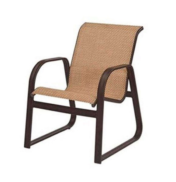 Cabo Sled Base Dining Chair - Commercial Aluminum Frame with Sling Fabric