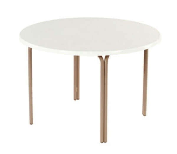 """48"""" Round Fiberglass ADA Patio Dining Table with Commercial Aluminum Frame"""