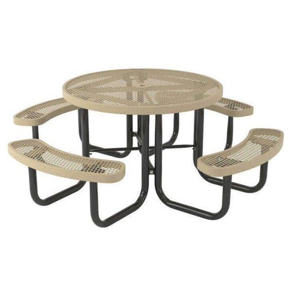 "46"" Round Polyethylene Coated Metal Picnic Table"