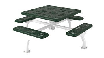 "Picture of 46"" Square Perforated Web Style Polyethylene Coated Steel Picnic Table"