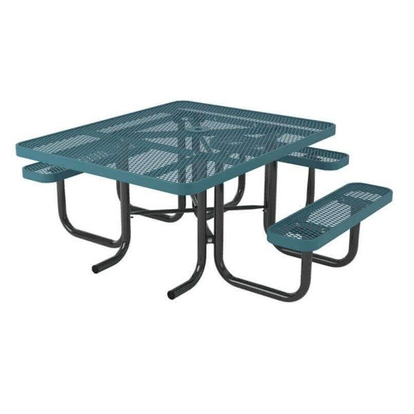 "Ultra Leisure Style 46"" x 57"" Square Polyethylene Coated Metal ADA Picnic Table"