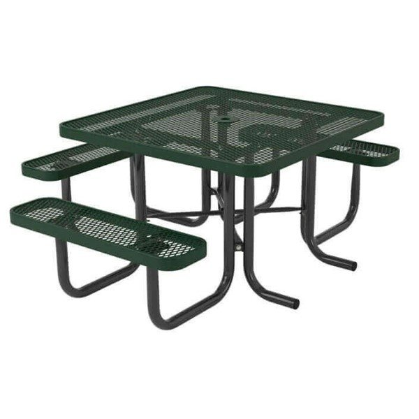 "46"" Ultra Leisure Style 3 Seat Square Polyethylene Coated Metal Picnic Table"