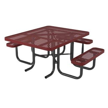 "Ultra Leisure Perforated Style 46"" x 57"" Square Polyethylene Coated Steel ADA Picnic Table"
