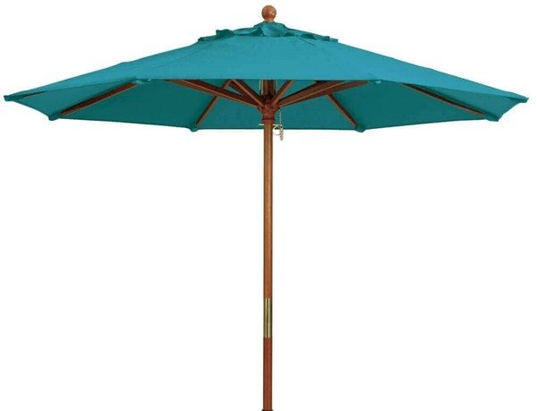 9 Ft. Round Wooden Market Umbrella with Outdura Marine Grade Fabric - Turquoise
