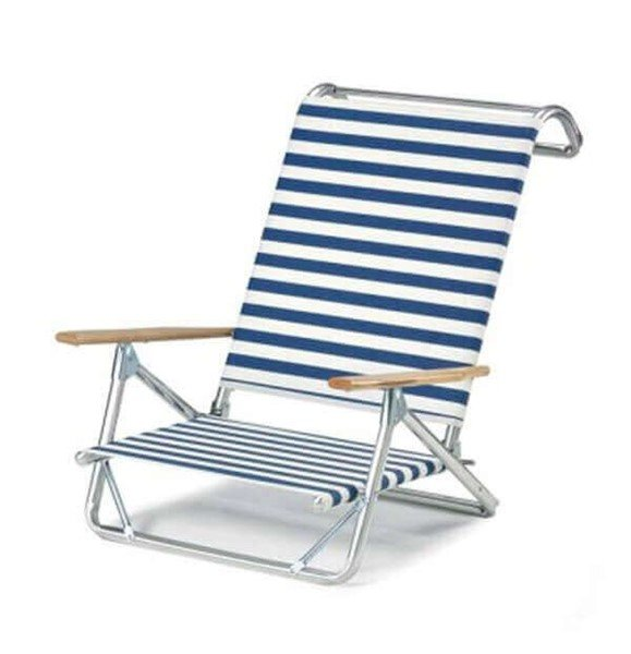 Telescope Mini-Sun Chaise Beach Chair With Aluminum Frames And Hard Wood Arms - Pack Of 2