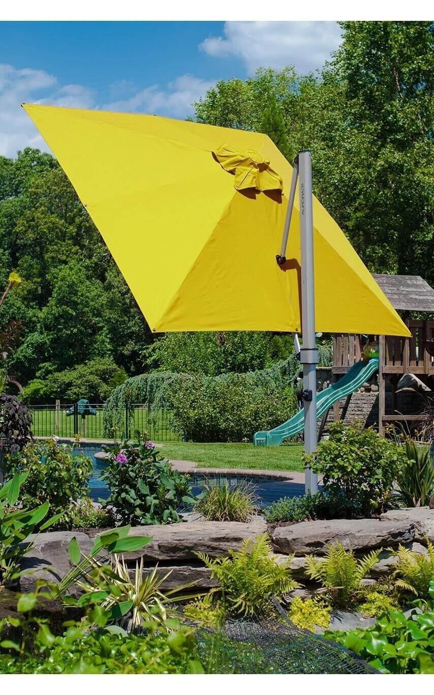 9 Ft Square Crank Lift Aluminum Cantilever Umbrella With