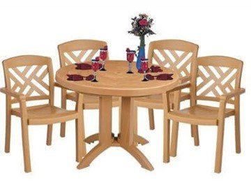 Plastic Resin Table and Chair Package, Sanibel Dining Set