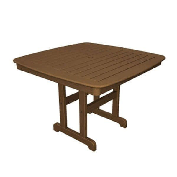 """43"""" Square Nautical Recycled Plastic Dining Table From Polywood"""