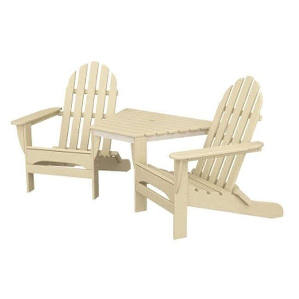 Adirondack Recycled Plastic Tete-A-Tete Chair Set With Table From Polywood