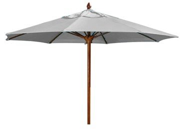 Augusta Style 11 Foot Octagon Diameter Market Umbrella. One Piece Simulated Wood Pole.  Marine Grade Fabric Top.