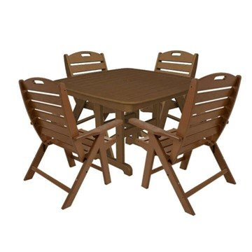 Nautical Recycled Plastic Lowback Dining Chair And Dining Table Set From Polywood
