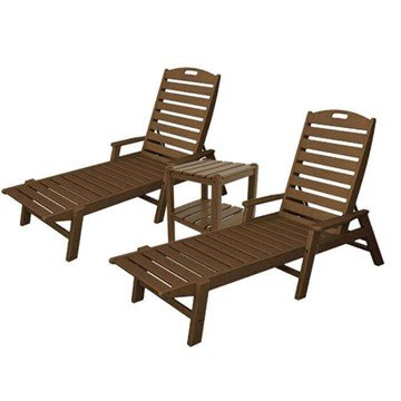 Nautical Recycled Plastic Chaise Lounge And Two Shelf Side Table Set From Polywood