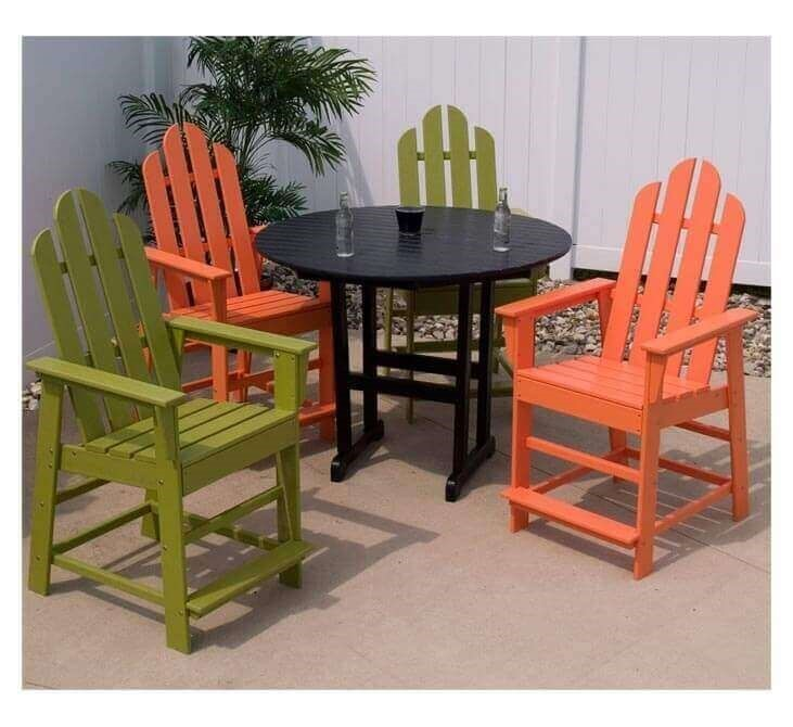 Long Island Recycled Plastic Patio Counter Chair From