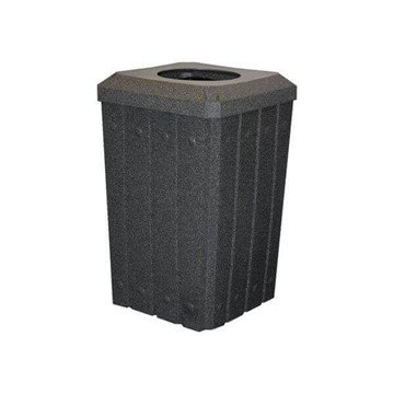 """Picture of 32 Gallon Square Signature Slat Design Plastic Receptacle with 10"""" Recycle Lid and Liner"""