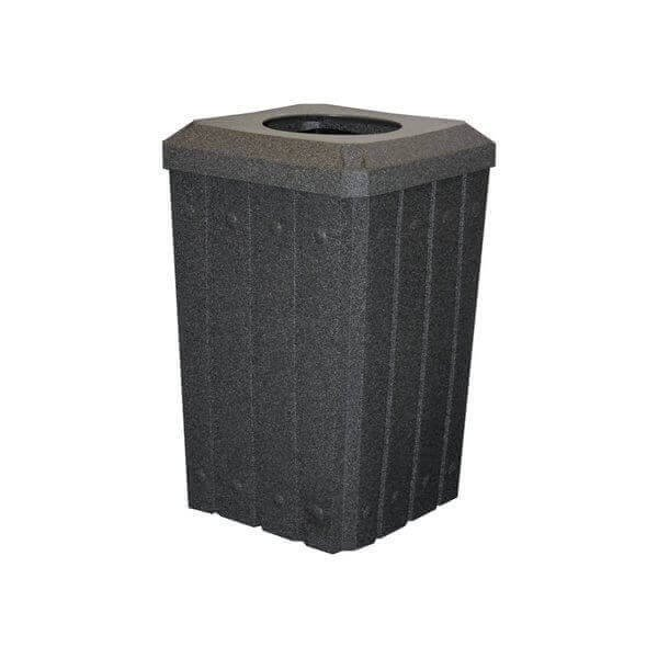 "Picture of 32 Gallon Square Signature Slat Design Plastic Receptacle with 10"" Recycle Lid and Liner"