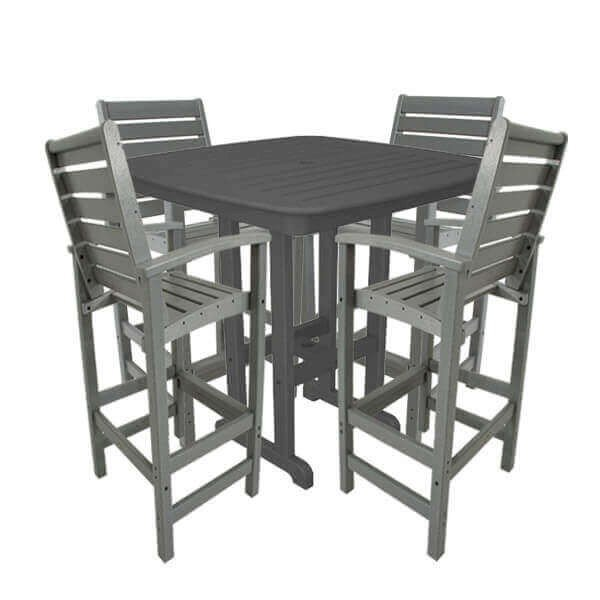 "Captain Recycled Plastic Bar Chair With 37"" Square Nautical Bar Table Set From Polywood"